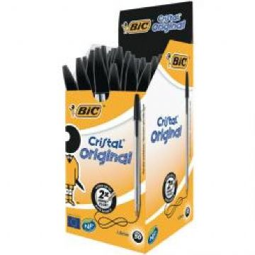 Bic Cristal Medium Ballpoint Pens - Black<br>Pack of 50